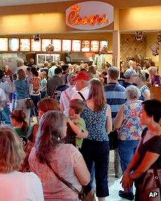 Chick-fil-A store is packed in Enid, Oklahoma 1 August 2012