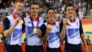 From left: Ed Clancy, Steven Burke, Peter Kennaugh and Geraint Thomas