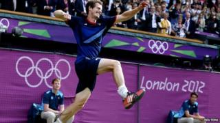 Andy Murray celebrates Olympic gold