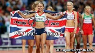 Jessica Ennis celebrates her victory