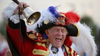 Town crier outside the Olympic Stadium before an Opening Ceremony rehearsal