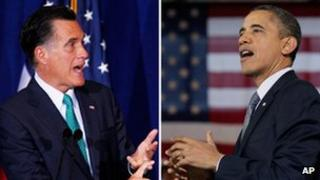 Mitt Romney and Barack Obama combination picture