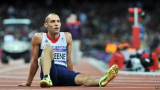 Dai Greene sits on track
