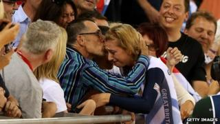 Laura Trott being kissed by her father Adrian after winning gold in the London 2012 women's omnium
