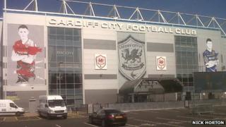 The new branding at the Cardiff City stadium