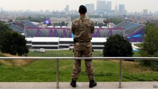 A soldier overlooks Greenwich Park equestrian venue