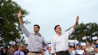 Republican presidential candidate and former Massachusetts Governor Mitt Romney and his running mate Rep Paul Ryan in Waukesha, Wisconsin
