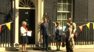Ann Barnes and commissioner candidates outside No 10
