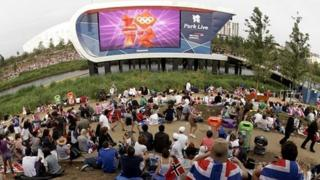 Crowds watching the Olympics on big screens
