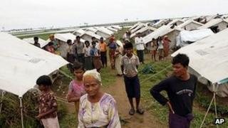 Refugees in Baw Du Pha refugee camp in Sittwe, Rakhine state. 1 August 2012
