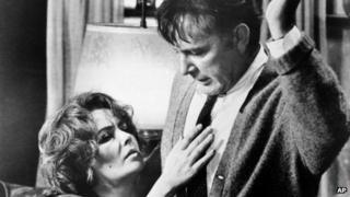Elizabeth Taylor and Richard Burton in a scene from the film Who's Afraid of Virginia Woolf