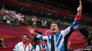Kristian Thomas at the medal ceremony