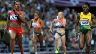 Carmelita Jeter runs the final leg in the women's 4x100m relay