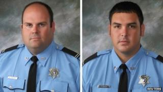 Brandon Nielsen and Jeremy Triche, police officers killed in LaPlace, Louisiana 16 August 2012