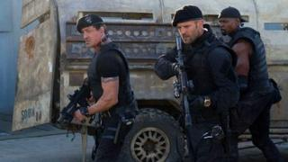 Sylvester Stallone, Jason Statham and Terry Crews in The Expendables 2