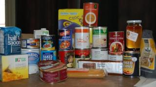 Contents of an emergency food box, which has three days' of food for a single person
