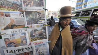 Newspaper stand in Bolivia