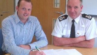 North Wales Police chief constable Mark Polin with his tutor, Arwel Owen