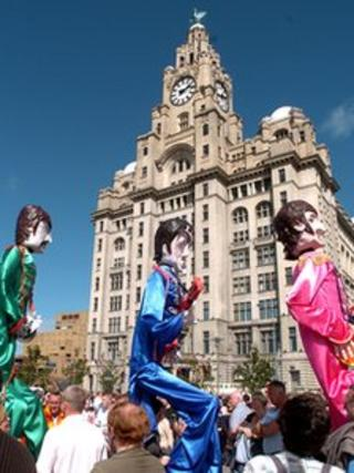 Beatles puppets at the festival in 2005