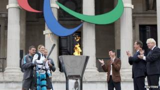 Claire Lomas lights cauldron in London's Trafalgar Square to launch the Paralympic torch relay
