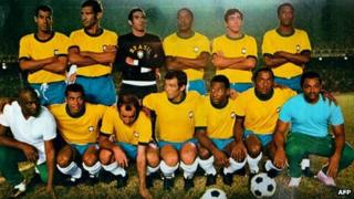 Brazilian football team just before the 1970 World Cup