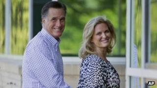 Republican presidential candidate Mitt Romney and his wife Ann in Wolfeboro, New Hampshire 27 August 2012