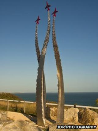 Red Arrows memorial sculpture in Bournemouth