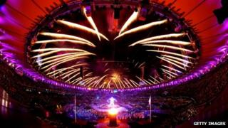 Fireworks light up the stadium as the Paralympic Cauldron burns during the Opening Ceremony of the London 2012 Paralympics