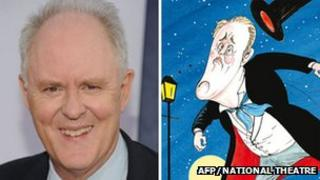 John Lithgow in real life and how he appears on Gerald Scarfe's poster for The Magistrate