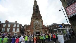 Parade passes St Patrick's Church
