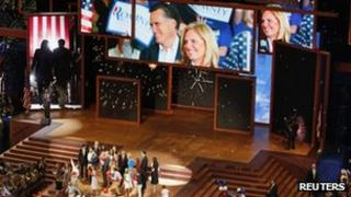 Mitt Romney, Paul Ryan and family members on stage at the convention after the acceptance speech - 30 August