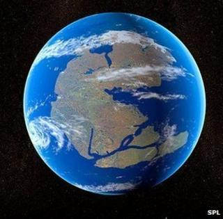 An impression of the supercontinent of Pangaea some 300 million years ago