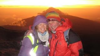 Neil Rushton and his partner Ceri at the top of Mount Kilimanjaro