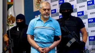 Suspected Mexican drugs baron Eduardo Arellano Felix being presented to a news conference on 27 October 2008, following his arrest in the city of Tijuana (file picture)