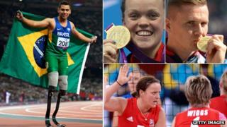 Brazilian springer Brazilian Alan Oliveira, GB swimmer Ellie Simmonds, GB wheelchair athlete David Weir, GB women's sitting volleyball player Martine Wright