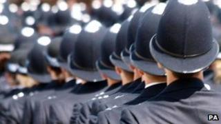 Police officers in pass out parade