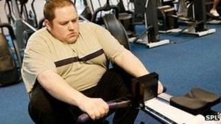 Obese man at the gym