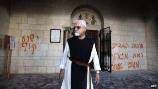 A monk at the Cistercian (Trappist) monastery, the Abbaye de Notre-Dame de Sept-Douleurs, at Latrun (4 September 2012)