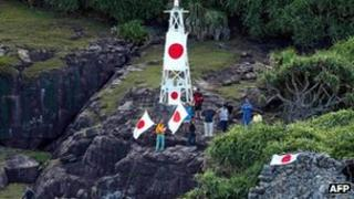 Japanese activists land on the islands on 19 August 2012