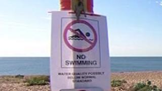 Sign at Shoreham warning people not to swim in the water