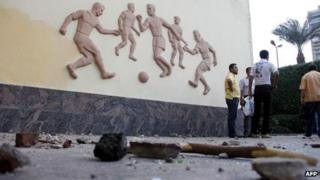 Debris at the Egyptian Football Association in Cairo (5 Sept 2012)