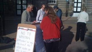 Signing petition in Stoke-on-Trent