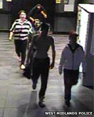 CCTV image of gang behind racist attack on a homeless man in Birmingham