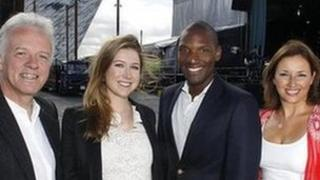 Soprano Hayley Westenra and American singer Noah Stewart join Proms in the Park hosts Noel Thompson, Claire McCollum at the Titanic Slipways, Belfast. where tonight' night's event will be staged.