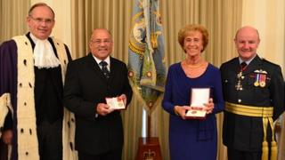 Bailiff Richard Collas, British Empire Medal recipients John Bougourd and Janet Bran and Air Marshal Peter Walker