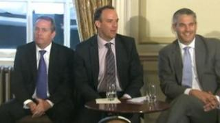 Liam Fox, Dominic Raab and Steve Barclay at the launch of Conservative Voice