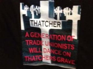 Thatcher T-shirt on sale at the TUC