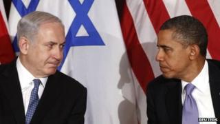 US President Barack Obama (R) meets Israel's Prime Minister Benjamin Netanyahu at the United Nations in New York on 21 September 2011