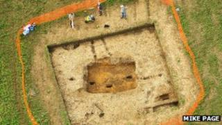 Aerial view of excavations