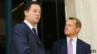 Nick Clegg welcoming David Laws back to government last week